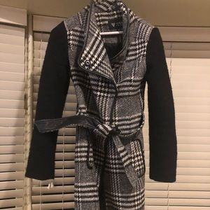 Houndstooth black and white peacoat